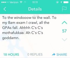 When you strive for mediocrity: | 19 Yik Yaks That Told The Damn Truth About School