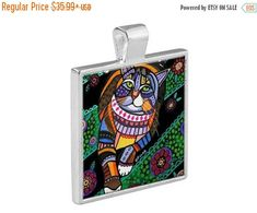 55% Off Today- Tabby Cat Folk Art Jewelry - Pendant Metal Gift Art Heather Galler Gift- Cat Lovers Abstract Modern Vegan Gifts