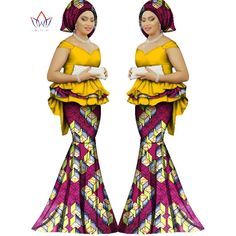 2017 Spring skirt set african designed clothing traditional bazin print Bazin Riche plus size skirt set evening dress African Maxi Dresses, African Dresses For Women, African Wear, African Attire, African Women, Ankara Dress, African Style, African Outfits, African Clothes