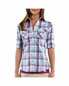 Roll-Up Sleeve Plaid Poplin Shirt $34.99 (Carhartt) Country Outfitters Cute!