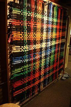 """T Shirt Rug-Weaving Loom. """"This is the new loom built in my studio. Rug Loom, Loom Weaving, Hand Weaving, Weaving Projects, Weaving Patterns, Weaving Techniques, Rug Hooking, Loom Knitting, Yarn Crafts"""