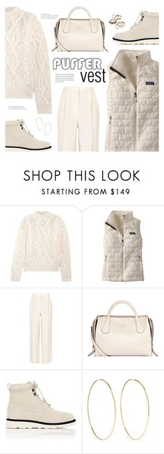 """""""Stay Warm"""" by catchsomeraes ❤ liked on Polyvore featuring Acne Studios, Patagonia, The Row, Modalu, Helmut Lang, Magda Butrym, Winter, monochrome and puffer"""