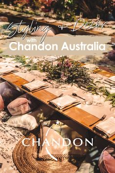 Style the ultimate #ChandonPicnic at home!  Base: Neutral cushions & rugs Table: prop a wooden table top up with milk crates. Decor: linen, Native Australian greenery, gold cutlery, goblet glasses. DIY platter: fresh fruit, Yarra Valley cheese, lavosh crackers. Final touch: Chandon Brut on ice, enjoy! Backyard Wedding Decorations, Table Decorations, Rainbow Fruit Trays, Chandon, Neutral Cushions, Outdoor Dinner Parties, Fruit Wedding, Blue Fruits, Pool Picture