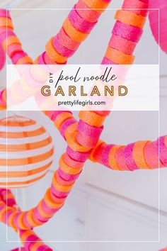 Summer Crafts: DIY Pool Noodle Garland - The Pretty Life Girls | We love to have a group together in the backyard on a summer night and we have the perfect simple and affordable way to decorate — a pool noodle garland! This project is so great for decorating an outdoor space because it is larger scale to fill a lot of space, it's weatherproof, and you can make them from pool noodles from the dollar store! #diygarland #diydecor #partyideas #summerparty #summerdecor Back To School Party, School Parties, Summer Diy, Summer Crafts, Summer Ideas, Diy Pool, Diy Garland, Garlands, Pool Noodles