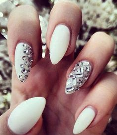 White Stiletto Nails with jewels