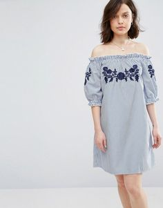 Buy it now. Parisian Off Shoulder Stripe Dress With Embroidery - Blue. Casual dress by Parisian, Lightweight crisp woven fabric, Stretch bardot neck, Floral embroidery, Striped design, Relaxed fit, Machine wash, 90% Polyester, 10% Cotton, Our model wears a UK 8/EU 36/US 4 and is 173cm/5'8 tall. ABOUT PARISIAN Dress for the main stage with Parisian's cool cover-ups and crochet separates. It�s all in the details, so pack a floral print to ace your festival steez, or fall for fringing with…