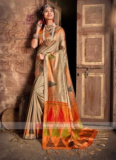 Raw Silk Beige Saree... Raw Silk Saree, Silk Sarees, Sari Fabric, Fabric Art, Fabric Material, Beige Art, Looks Chic, Traditional Sarees, Work Looks