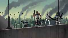ARC troopers on the planet Muunilinst as seen in Star Wars: Clone Wars (2003