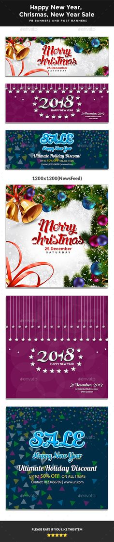 2018 #Happy #New Year - Happy Christmas - New Year Sale FB Covers & Post Banners - Facebook Timeline Covers #Social Media