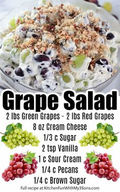 Fruit Recipes, Summer Recipes, Appetizer Recipes, Salad Recipes, Cooking Recipes, Appetizers, Recipes With Grapes, Recipes Dinner, Salad