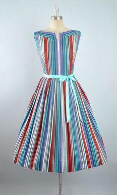 Vintage 50s Dress / 1950s RAINBOW STRIPES Cotton SUNDRESS Red