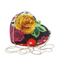 Anthony David Crystal Handbag - Floral Heart - This Anthony David Crystal Heart Evening Bag has a silver metal frame and is covered in multi-colored crystals. The crystals are all hand-set in a colorful rose floral design. The interior of this exotic evening bag is lined in silver leather and it can be carried as a clutch handbag or worn as a shoulder bag with the silver metal shoulder chain.