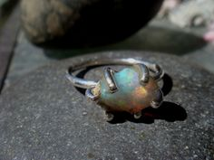 Natural Opal Ring by NuitetJour on Etsy https://www.etsy.com/listing/229345434/natural-opal-ring