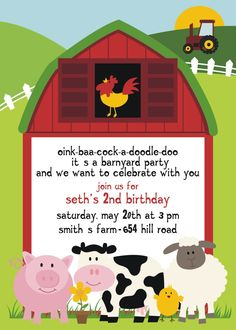 oink-baa-cockadoodle doo we are having a farm party for Charlie's 1st birthday saturday 14th january, 2017 from 2pm for afternoon tea byo drinks