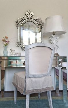 Great desk and slipcover.  Could use Annie Sloan Chalk Paint in Paris Grey to get this effect.