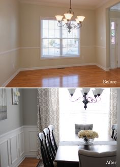 Nice impact in a dining room - DIY wainscoting and extra tal.-Nice impact in a dining room – DIY wainscoting and extra tall curtains. Nice impact in a dining room – DIY wainscoting and extra tall curtains. Home Renovation, Home Remodeling, Home Interior, Interior Design, Interior Modern, Kitchen Interior, Sweet Home, Home And Deco, Style At Home