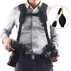 Quick Release Double Dual Camera Shoulder Strap Harness,Konsait Adjustable Dual Camera sling Camera Neck Strap With Dust Brush And Dust Blower Ball Nikon Camera Lenses, Nikon Cameras, Camera Neck Strap, Video Camera, Macbook, Nikon D3300, Camera Bags, Camcorder, Shoulder Straps