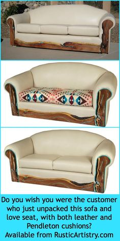 Western sofa with turquoise inlaid live edge mesquite arms and kick plate. Fully customizable for your style preferences from RusticArtistry.com http://rusticartistry.com/product/turquoise-inlay-western-leather-sofa/