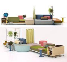 O Bikini Island Landscape, desenhado por Werner Aisslinger para a Moroso, é um sistema modular de sofás pensado para a família, com multiplas direções e possibilidades de arranjo