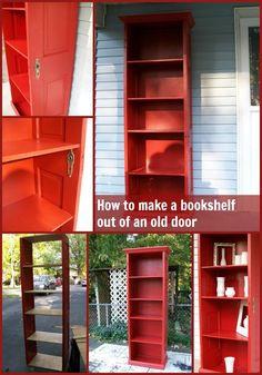 """<a href=""""http://www.myrepurposedlife.com/2010/10/door-repurposed-bookshelf.html"""" target=""""_blank""""><strong>Door Re Purposed to Bookshelf via My Re Purposed Life</strong></a>"""