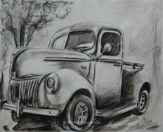 Old Ford Truck Black Old ford truck drawing
