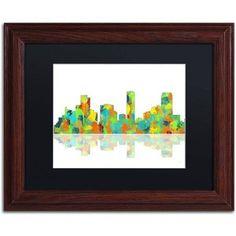 Trademark Fine Art Denver Colorado Skyline Canvas Art by Marlene Watson Black Matte, Wood Frame, Size: 11 x 14, Multicolor