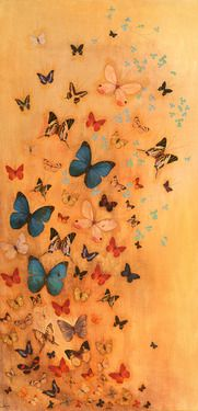 Butterflies on Ochre , Mixed Media by Lily Greenwood, Manchester UK