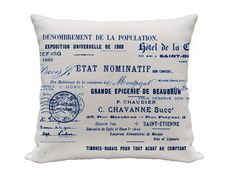 French News Print Printed Pillow Cover Blue and by gracioushome, $16.00