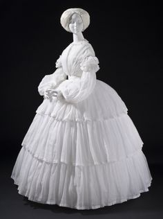 Woman's Dress Europe, circa 1855 Cotton plain weave (muslin) with cotton embroidery (M.2007.211.755) | LACMA Collections