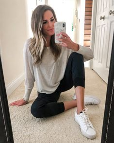 Easy, work from home outfit. #joggers #loungewear #whitesneakers