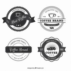 More than a million free vectors, PSD, photos and free icons. Exclusive freebies and all graphic resources that you need for your projects Cafe Branding, Cafe Logo, Vintage Coffee Shops, Premium Coffee, Coffee Shop Design, Sticker Shop, Manchester City, Best Coffee, Journal Ideas