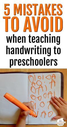 The most common mistake I see is . this is great advice for people teaching handwriting to kids in preschool and kindergarten. The tip about worksheets is so important. Education 5 Common mistakes to avoid when teaching handwriting - The Measured Mom Preschool Learning Activities, Preschool At Home, Preschool Lessons, Preschool Prep, Teach Preschool, Preschool Bulletin, Preschool Charts, Preschool Curriculum Free, Preschool Journals