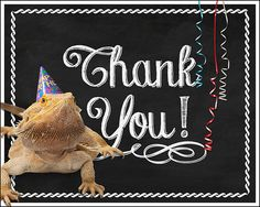 Reptile Party Thank You Cards  print at home by MelindaBryantPhoto, $4.30   Bearded Dragon, lizard, birthday, chalkboard style, printable, ideas