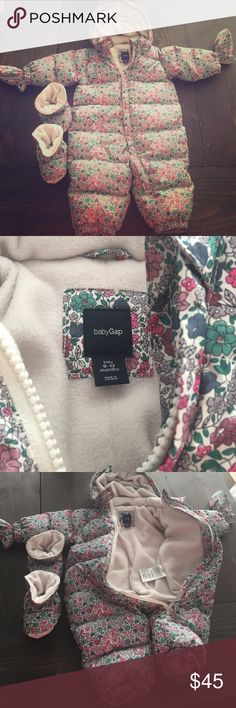 Gap baby girls full body body jacket Baby Gap baby girls full body jacket with mittens and booties. Excellent condition, size 6-12 moths. Both mittens and booties attach to jacket. GAP Jackets & Coats Puffers