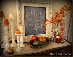 Love this for a fall entrance table as well.  Boy I need a house.  wah.