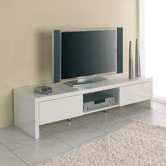 meuble tv 2 tiroirs 1 niche longueur 160 x hauteur 38cm mdf blanc gecko port offert - Meuble Tv Blanc Glossy