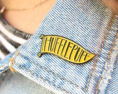 Hufflepuff Enamel Pin - Harry Potter Pennant Pin - Hogwarts House Pride - Hufflepuff Potterhead Gift Idea
