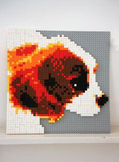 King Charles Spaniel #lego #mosaic #art from photobrix.com