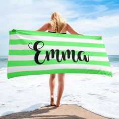 Personalized Name Blankets Rainbow Family, White Names, Block Fonts, Striped Towels, Font Names, Personalised Blankets, Burnt Orange, Beach Mat
