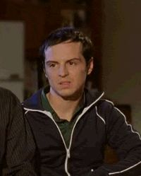 "Gif of Andrew Scott: Exactly my reaction when someone said they don't like Sherlock ... ""WHAT? NO... No"""