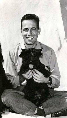Humphrey Bogart with one of his scotties.