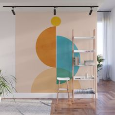 Minimal Sun Wall Mural by colourpoems - Murales Pared Exterior Kids Room Murals, Wall Murals, Room Wall Painting, Stair Walls, Wall Decor, Room Decor, Easy Wall, Geometric Wall, Paint Designs