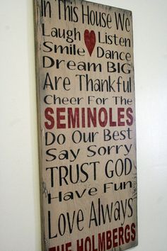 Florida State Seminoles Family Rules Sign Team Sign Personalized Name Sign Custom Name Sign Distressed Wood Rustic Shabby Chic Handmade Sign...