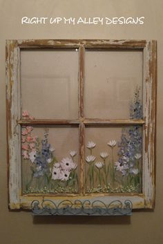 Old painted window,floral,distressed windows,pastel painted window,window with shelf,hand painted window,floral window,window decor,bath by RightUpMyAlleyDesign on Etsy