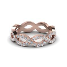 Infinity Twist Eternity Ring Anniversary Gifts with Diamonds in 14K Rose Gold exclusively styled by Fascinating Diamonds