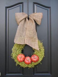 Pumpkins - Pumpkin Wreaths - Moss Decor - Burlap - It's The GREAT Pumpkin Wreath - Original for Autumn Home Decor
