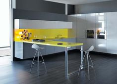 Glossy Color Kitchen Cabinets Design Photo 2
