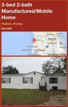 3-bed 2-bath Manufactured/Mobile Home in Hudson, Florida ►$44,900.00 #PropertyForSale #RealEstate #Florida http://florida-magic.com/properties/83471-manufactured-mobile-home-for-sale-in-hudson-florida-with-3-bedroom-2-bathroom