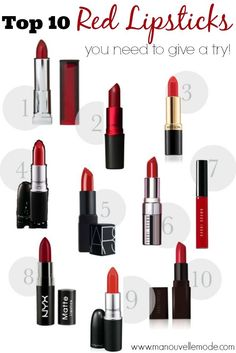 Finding the Perfect Red Lipstick - 1. Maybelline Verry Cherry – $7.49 2. MAC Viva Glam – $16 3. Revlon Super Lustrous Lipstick in Rich Girl Glam- $6.99 4. MAC  in Ruby Woo - $16 5. Nars Jungle Red – $26 6. Bobby Brown Vintage Red – $28 7. Bobby Brown Lip Gloss Siren Red - $24 8. NYX Matte Lip color in Perfect Red – $5.99 9. MAC in Lady Danger – $16 10. Laura Mercier in Red Amour – $26…
