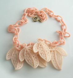 Early Pink Plastic Filigree Leaf Necklace  Unique vintage, antique, costume and estate jewelry.